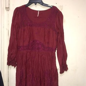 Free People red laced dress